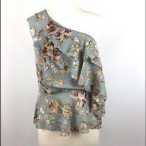 Amaryillis New romantic print oneshoulder silk Top